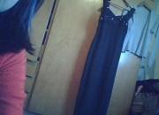 vestido negro de fiesta t 48 y saquito gris brilloso solo 1 uso impecable
