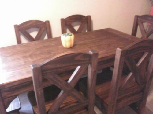 Comedor mesa y 6sillas tapizado y otro rústico en montevideo ...