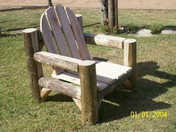 Juego de patio en madera rustico modern patio outdoor for Sillones de madera