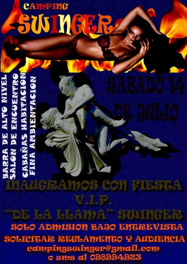 """Fiesta swinger con encuentro, (del fuego), con motivo de la  presentacion del """"camping swinger"""""""