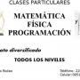 Clases particulares de Matemática, Física y Programación