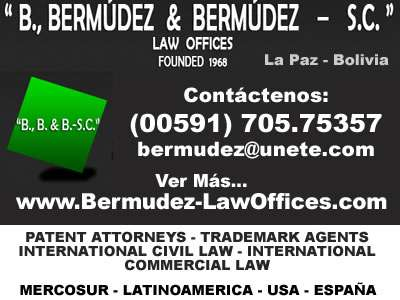Uruguay. trademarks - patents - industrial designs - utility models. technology transfer contracts. all the procedures on industrial property and copyrights b., bermúdez & bermúdez - s.c. - law offi