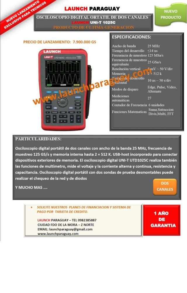 Osciloscopio digital ortatil de dos canales launch uni-t 1025c