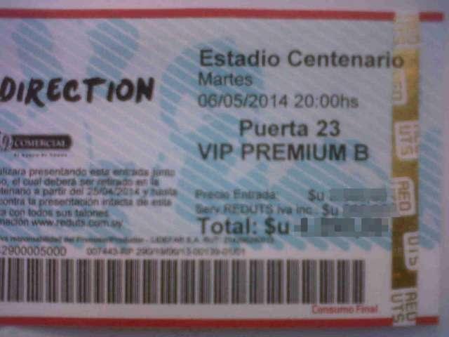 Entradas para one direction!, concierto en uruguay! sector vip