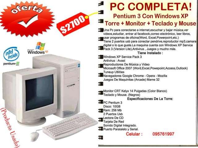 Pentium 3 con windows xp. torre,monitor,teclado y mouse.