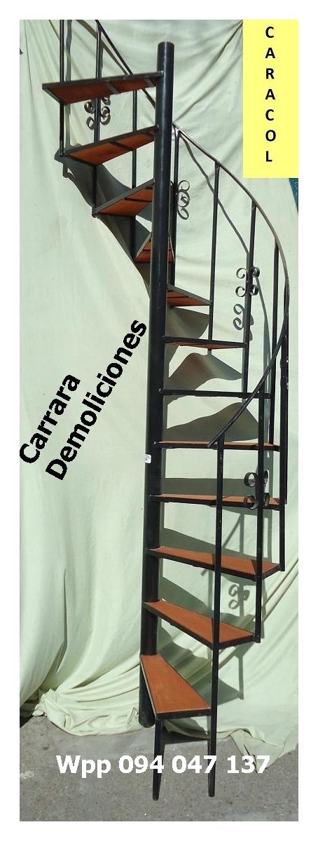 Escalera caracol tel: 22035217 con escalones de madera carrara demoliciones