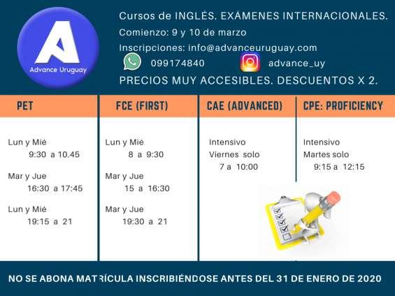 Horarios 2020 para cursos de exámenes internacionales.